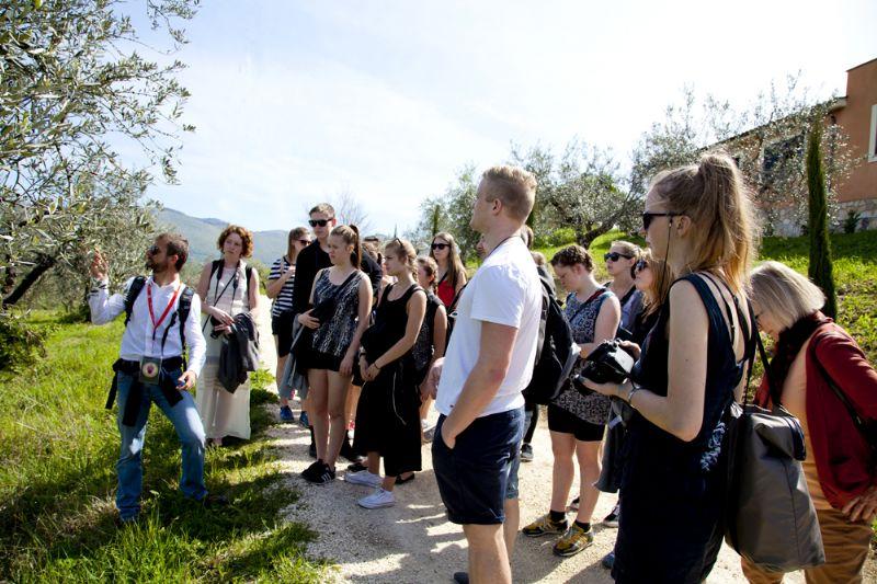 In campo fra gli olivi durante la spiegazione